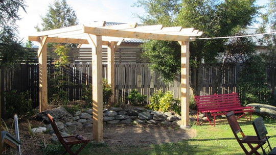 macrocarpa pergola and fence made in a s