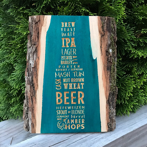 Live Edge Wood Engraved Beer Sign