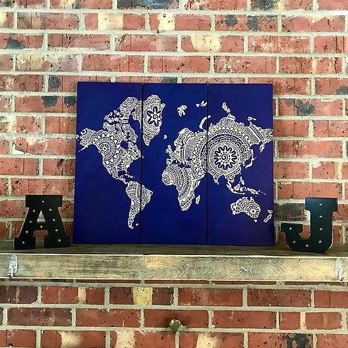 3-Panel Engraved Mandala World Map Wall Hanging