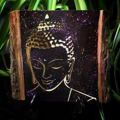 Live Edge Buddha Wood Engraving