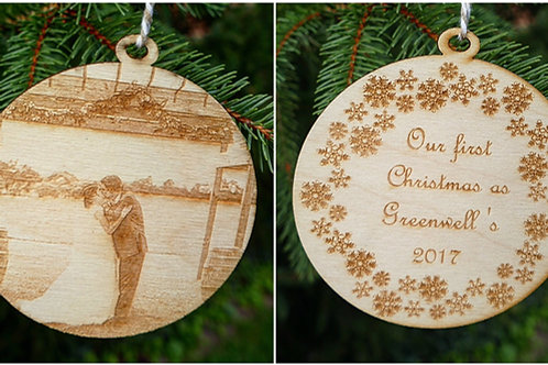 Double-Sided Engraved Wood Ornament