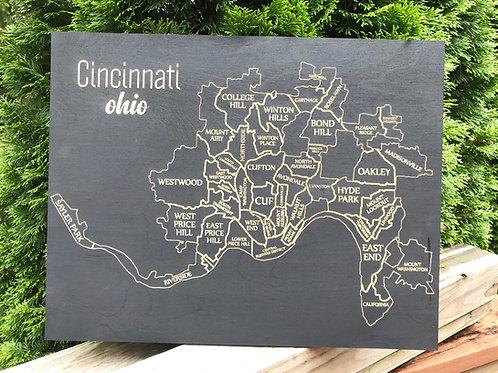 16 x 20 Wooden Engraved Cincinnati Map