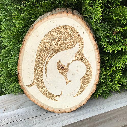 Mandala Mom And Baby Wood Engraving