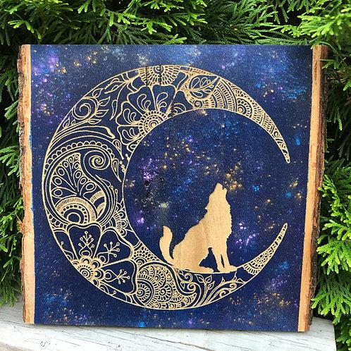 Live Edge Mandala Wolf On The Moon Egraving
