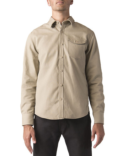 ABRASIVE RESISTANT-Dickies Moto Long Sleeve Work Shirt, Military Khaki