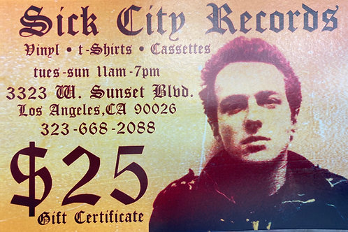 Sick City Gift Certificates