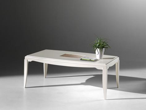 Tavolino da salotto rettangolare in frassino con decoro
