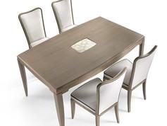 Tavolo rettangolare in frassino con decoro