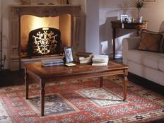 Tavolino rettangolare piano legno intarsiato
