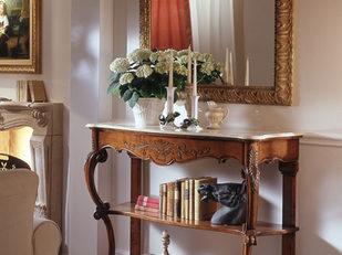 Consolle classica in noce con un cassetto, piano marmo