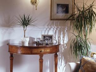 Consolle mezzaluna in ciliegio, stile classico