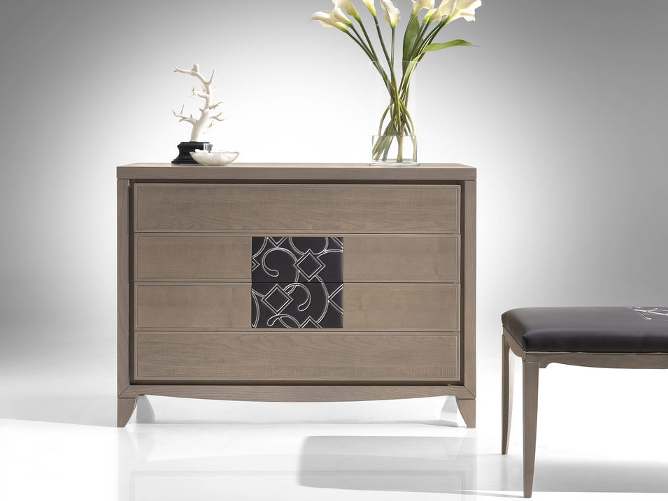 Ash chest of drawers with leather insert