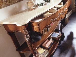 Consolle noce classica piano marmo
