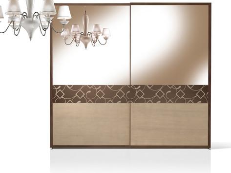 Armadio ante scorrevoli con specchio bronzato