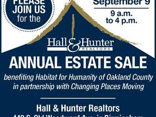 Mark Your Calendars for the Hall & Hunter Annual Estate Sale...