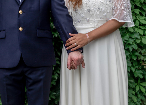 Holding Hands Wedding Day
