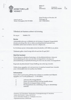 Tillstånd asbesthantering sid 1