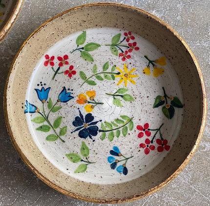 White and Gold Trim Raku Flower Plate