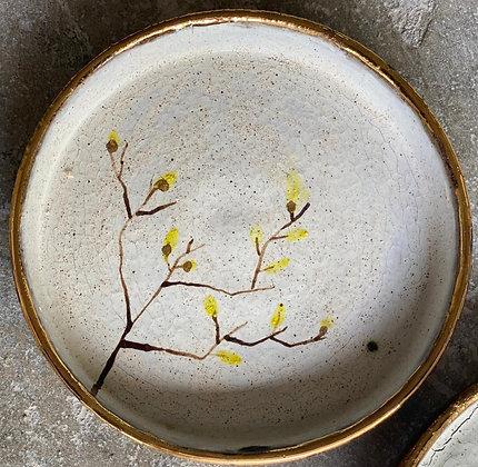 White and Gold Trim Raku Tree Plate