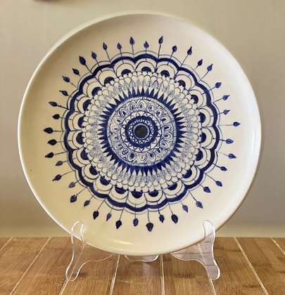 White Plate with Blue Design