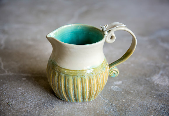 Turquoise and Seaweed Pitcher