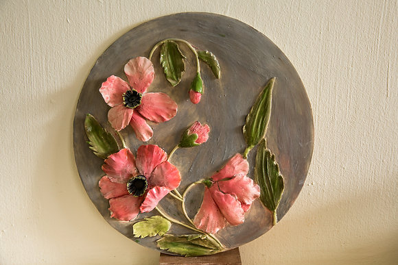 Hand Painted Pink flowered Wall plate