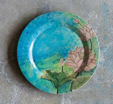 Handpainted Lotus Plate