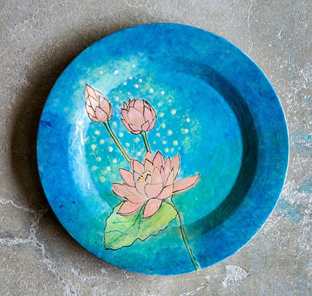 Handpainted Blue Lotus Plate