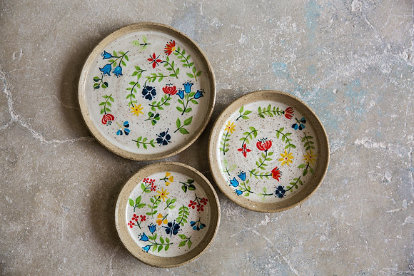 Floral painted plates