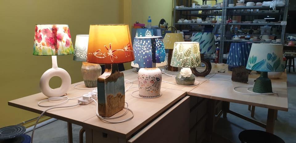 Ceramic handmade lamps, handpainted Batik lampshades