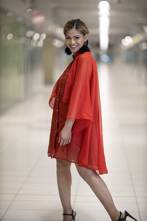 Piña Cape Red Dress