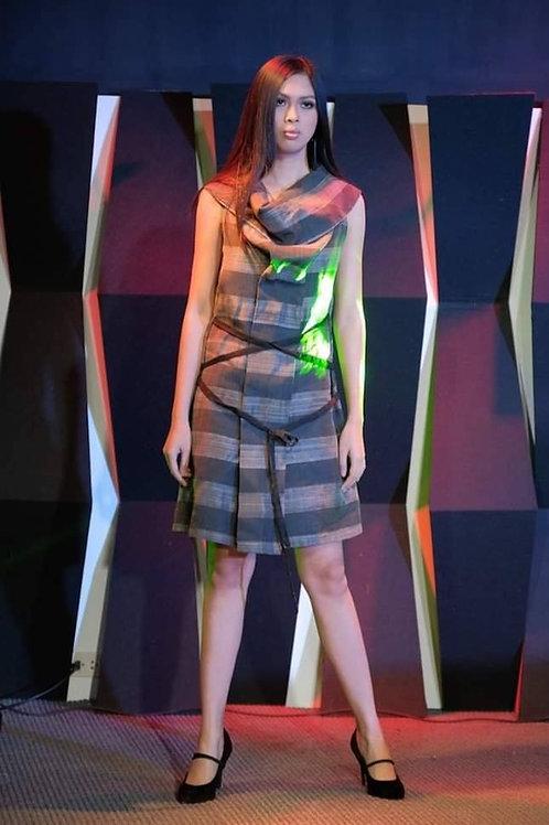 Grey Stripes Fine Abaca Dress