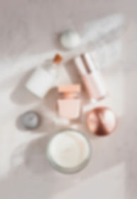 Spa beauty products flatlay in shape of