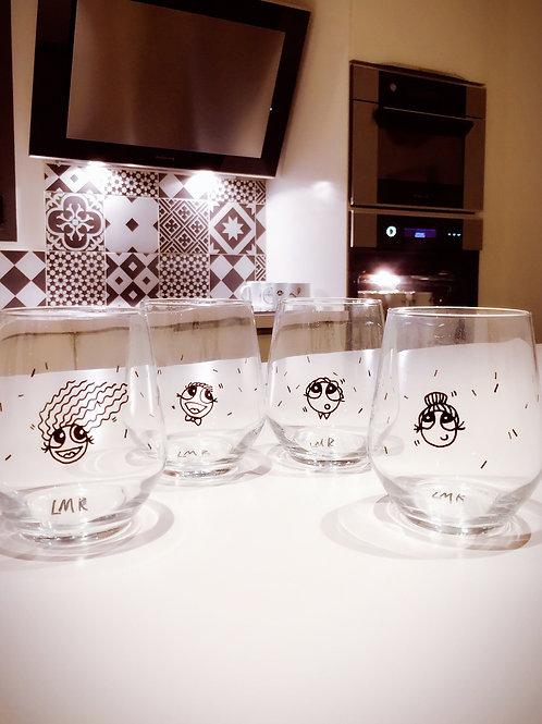 4 verres customisés main