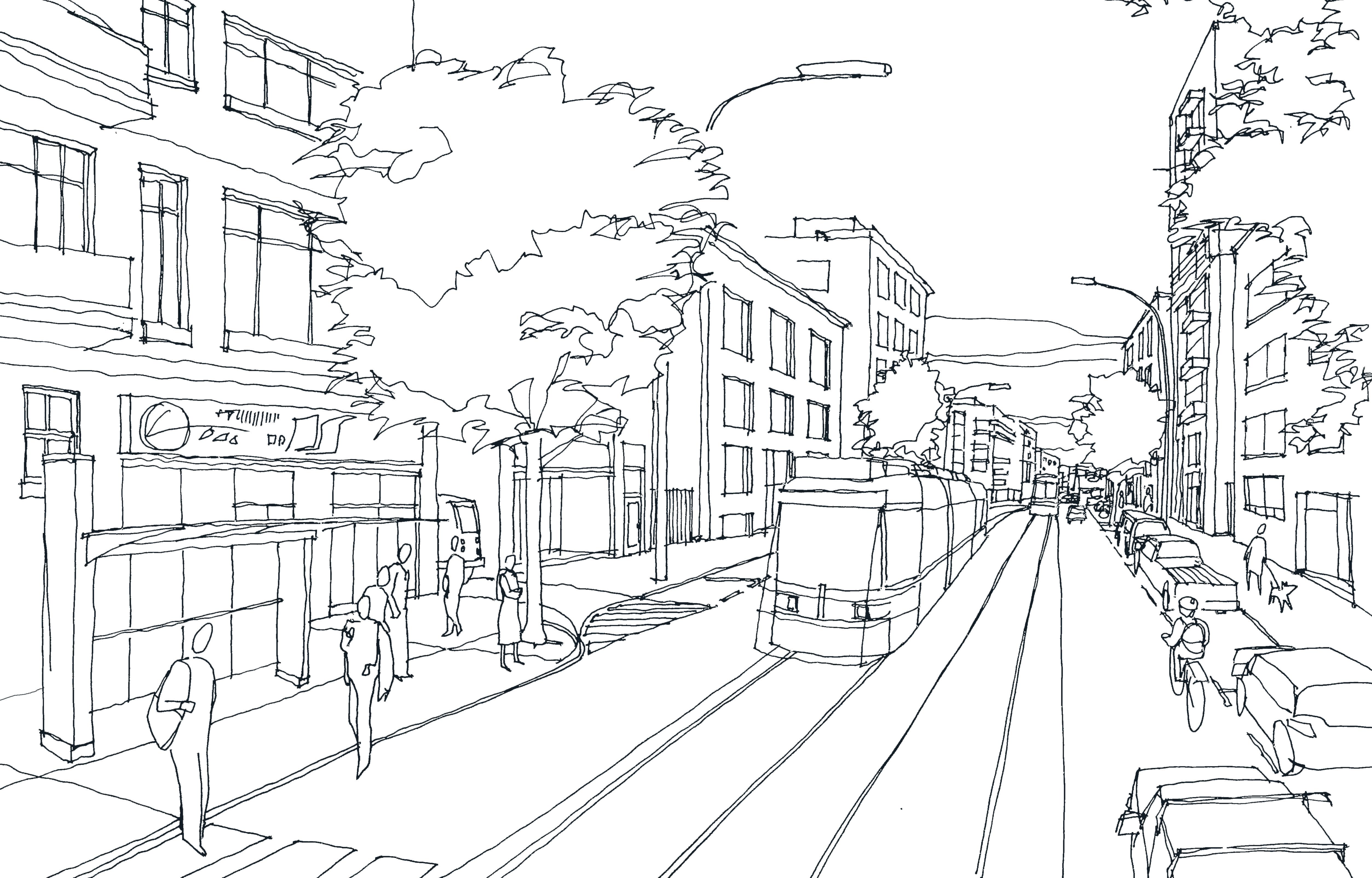 Busy Street B+W