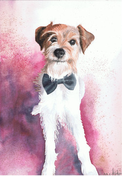 Watercolour painting of a cute terrier in a bow tie.