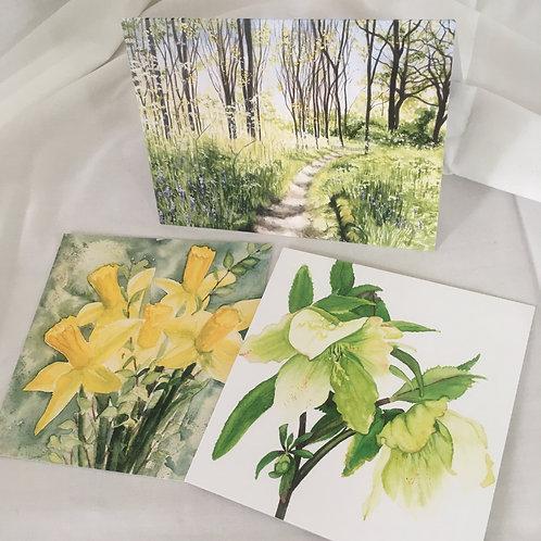 Spring Greens set of 3 cards