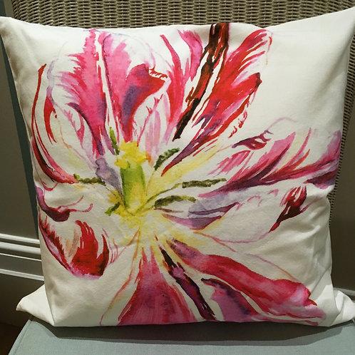 Magenta Striped Tulip Cushion