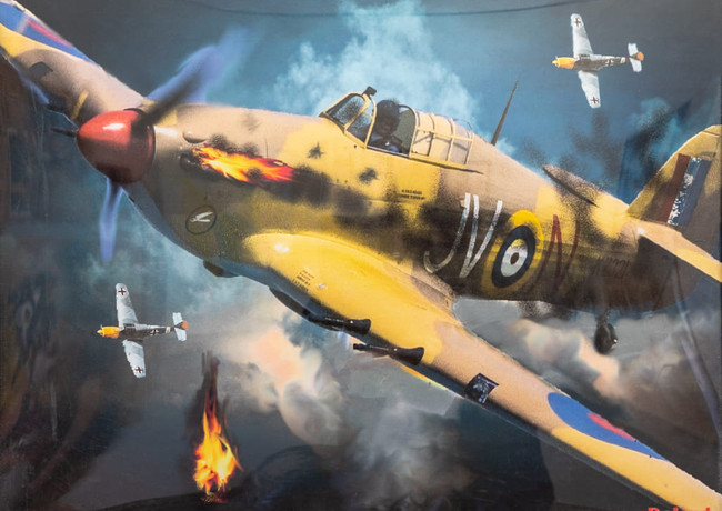 Burning Hurrican In battle of Britain