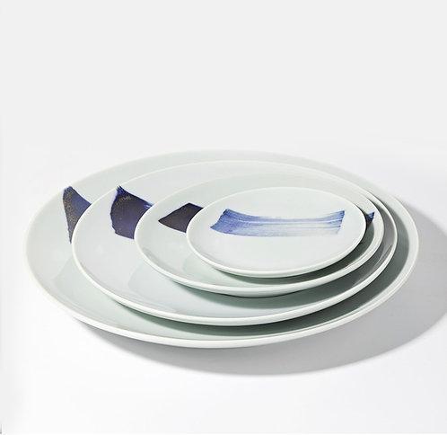 Blue Brush Plates - Complete 4-pc Suite  (15/21/27/ 33 cm)