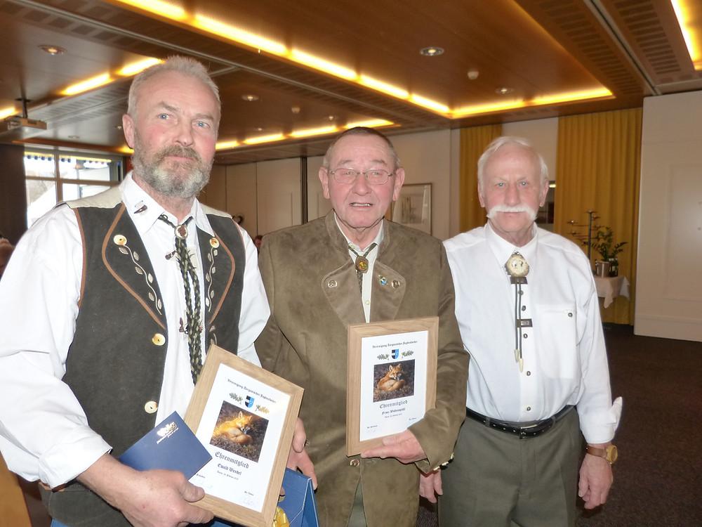 Ehrenmitglieder Jubilare 50 Jahre Von links: Ewald Wendel, Franz Waltenspühl