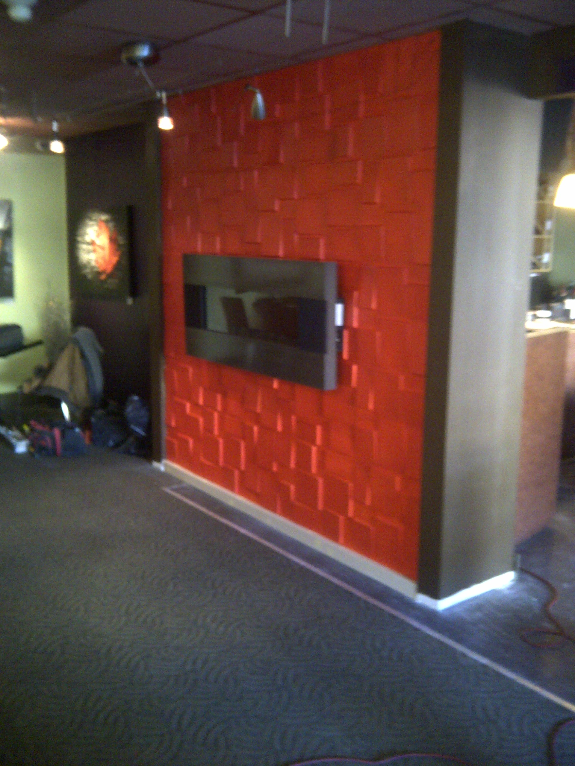 Textured feature wall with fireplace