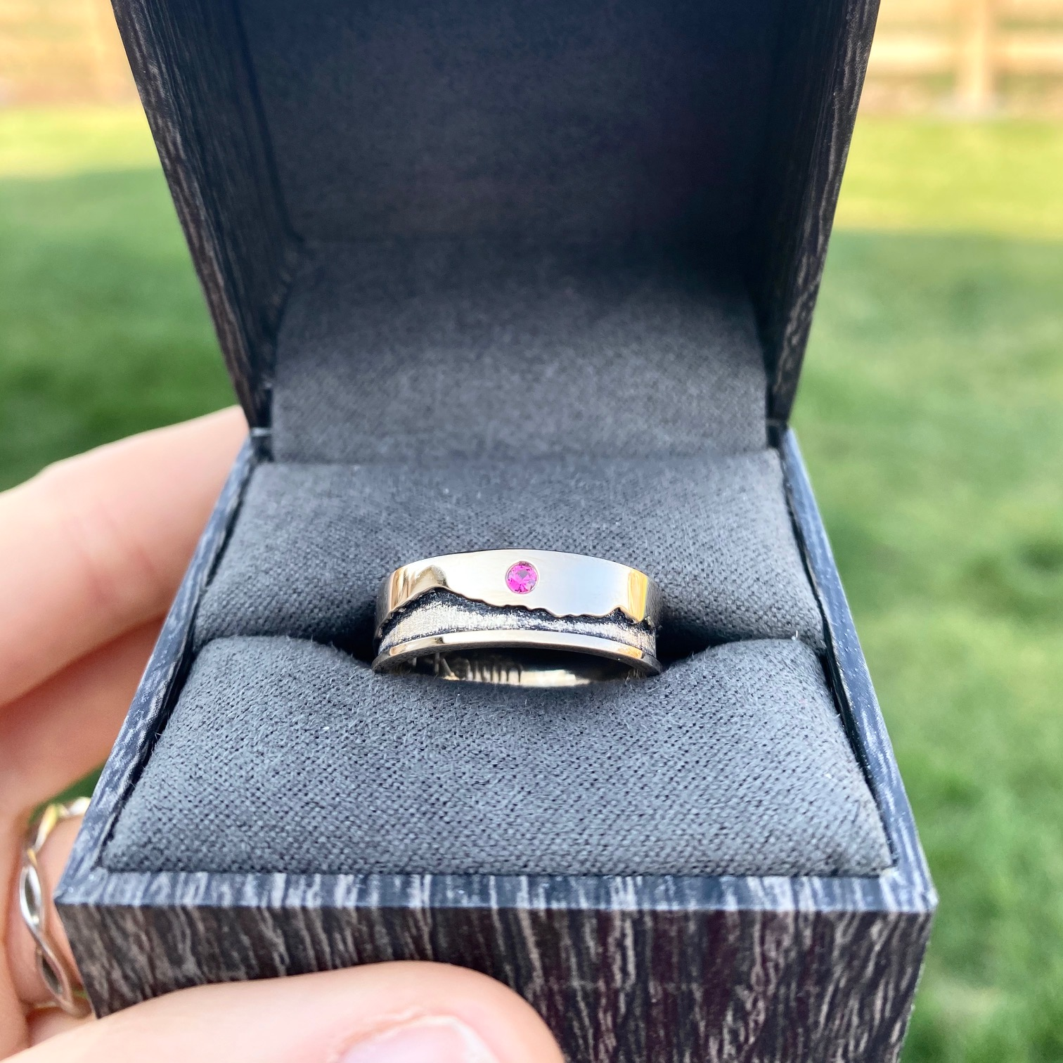 Custom mountain range men's wedding band
