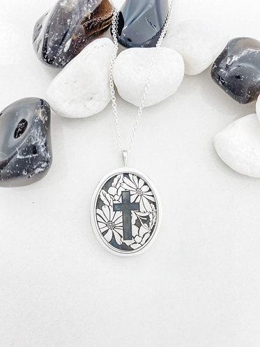 Engraved Flower and Cross Pendant