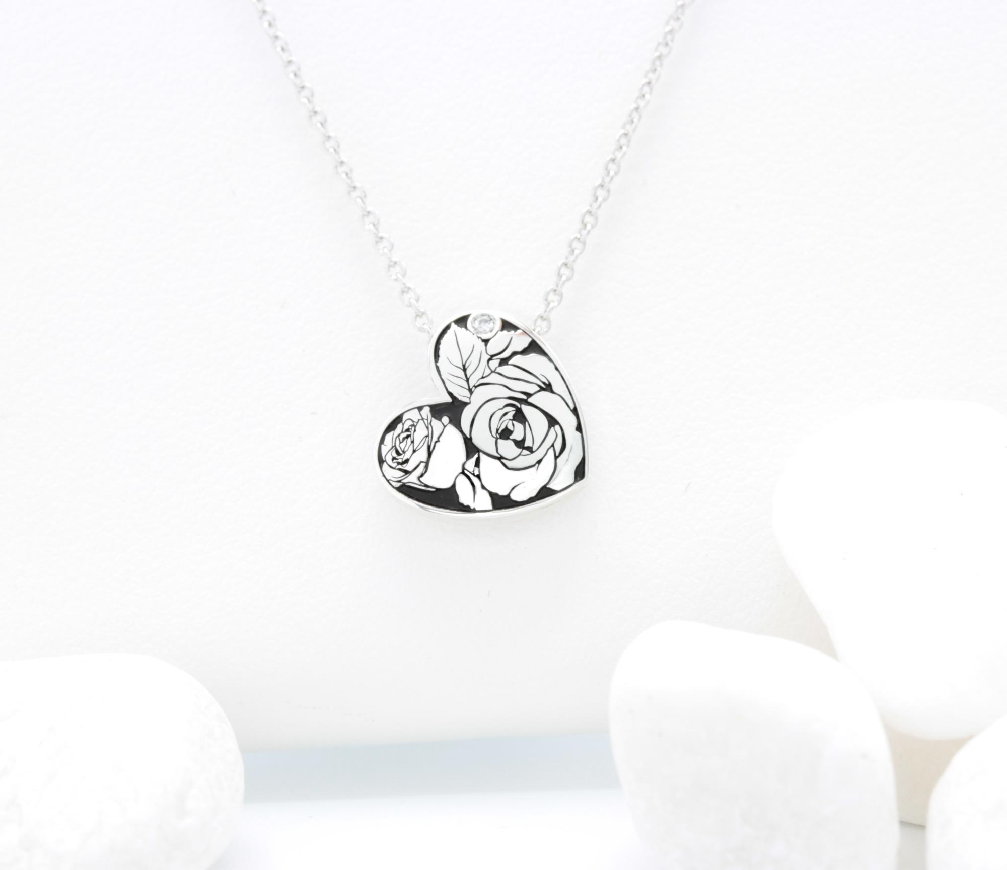 Rose heart with diamond 15