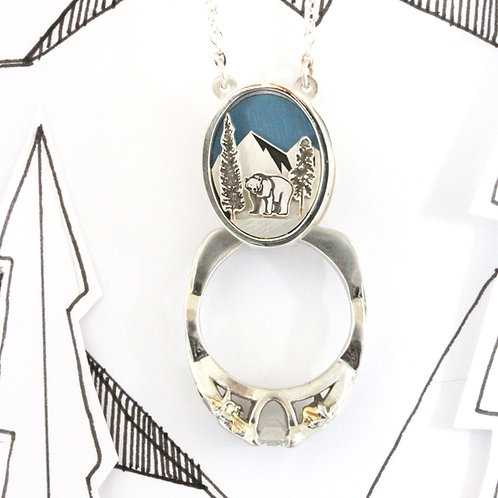 Bear and Mountain Ring Holder Necklace