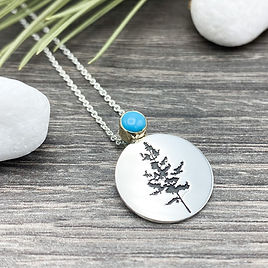 Aspen tree birthstone pendant