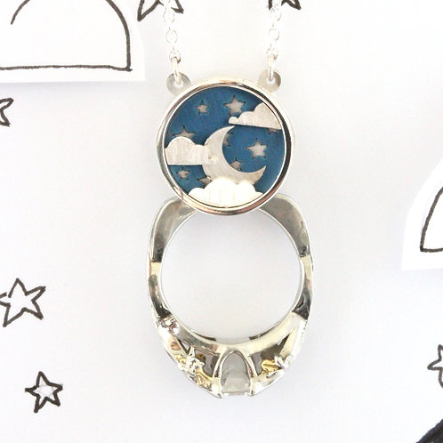 Star and Moon Ring Holder Necklace