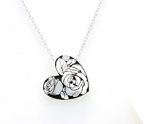 Diamond Heart Pendant with Roses