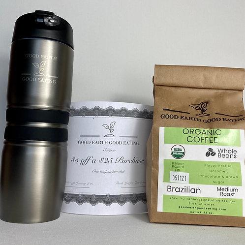 Tumbler, Organic Coffee & $5 off Coupon